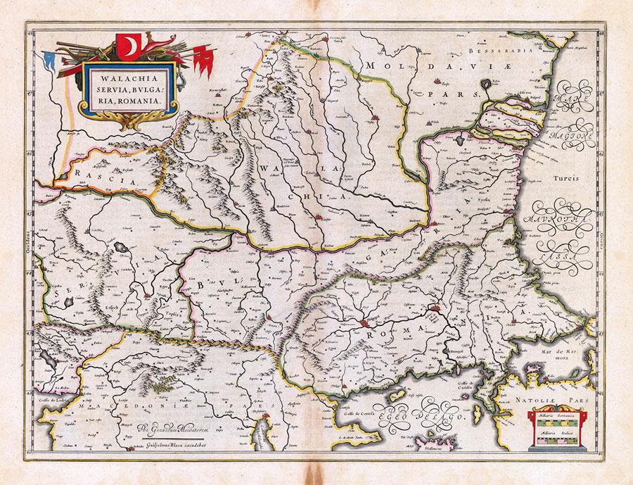 La jumătatea secolului al XVII-lea, iată cum arăta harta Ţării Româneşti dintr-o sursă olandeză
