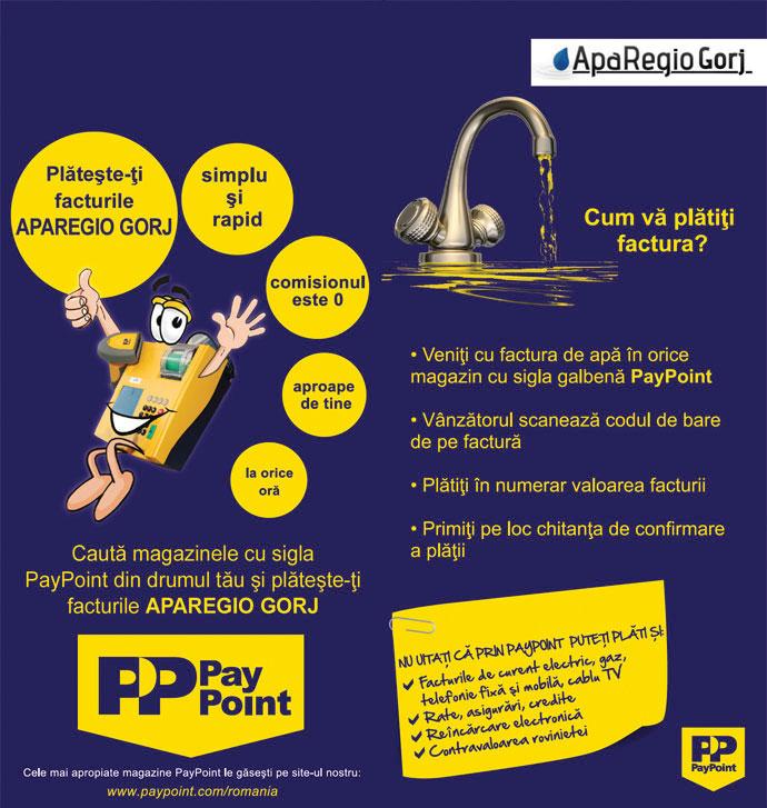 În paralel cu încasările la ghișeu, funcționează și modul de plată prin PayPoint la Aparegio