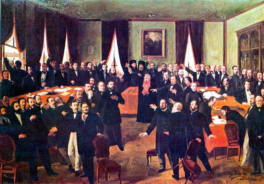 Deputații Munteniei l-au votat pe A. I. Cuza domnitor la 24 ianuarie 1859